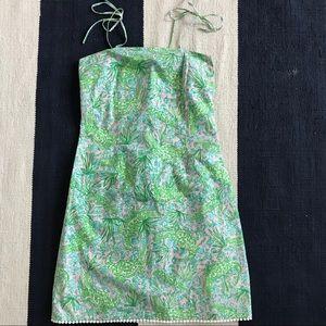 Spaghetti Strap Dress Green/Pink Alligator Print
